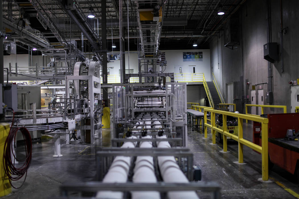 Cut rolls of tissue paper are processed at the Clearwater Paper plant in North Las Vegas, Thursday, Aug. 31, 2017. Joel Angel Juarez Las Vegas Review-Journal @jajuarezphoto