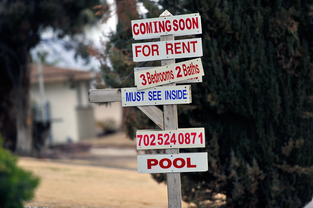A for rent sign is displayed in front of a downtown home Tuesday, Jan. 19, 2016, in Las Vegas. David Becker/Las Vegas Review-Journal