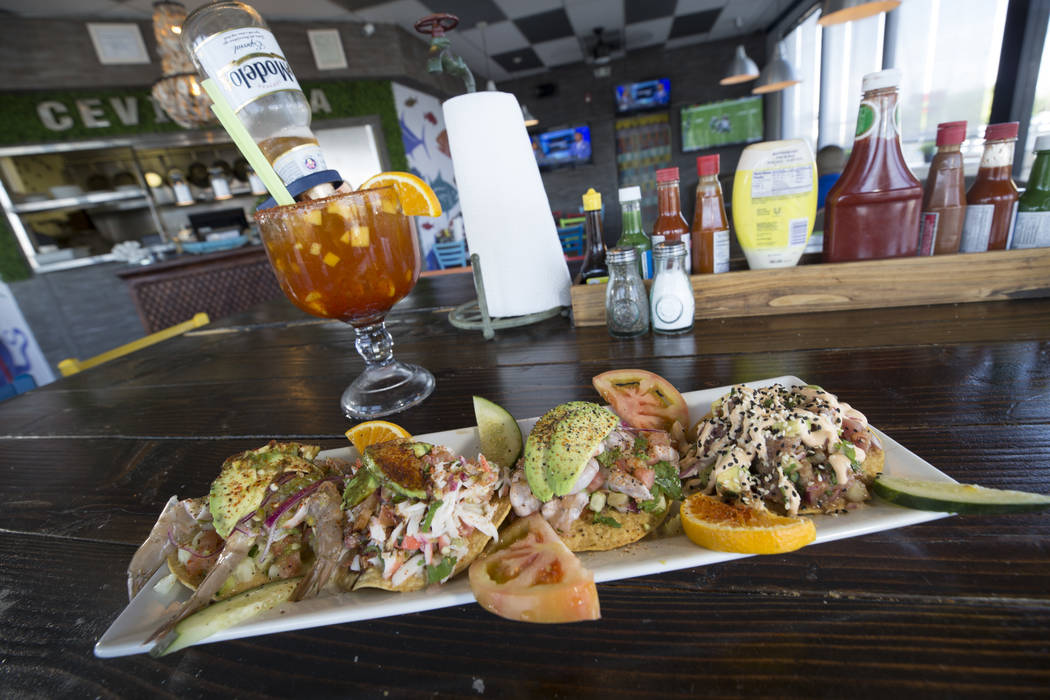 The tostada platter served with a mango-chelada at Cevicheria El Diamante located at 2457 East Tropicana Avenue on Monday, Sept. 11, 2017, in Las Vegas. Richard Brian Las Vegas Review-Journal @veg ...