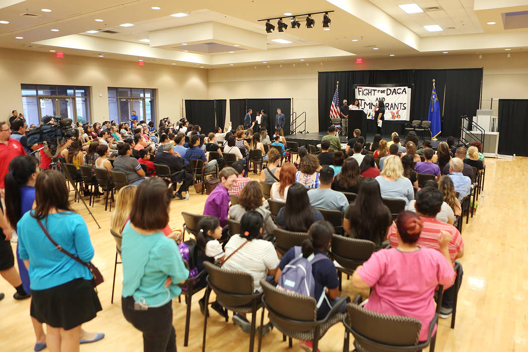 Attendees gather for an informative event on Deferred Action for Childhood Arrivals at East Las Vegas Community Center on Tuesday, Sept. 5, 2017. Bridget Bennett Las Vegas Review-Journal @bridgetk ...
