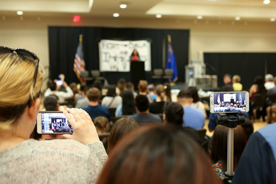 Attendees livestream an informative event on Deferred Action for Childhood Arrivals at East Las Vegas Community Center on Tuesday, Sept. 5, 2017. Bridget Bennett Las Vegas Review-Journal @bridgetk ...