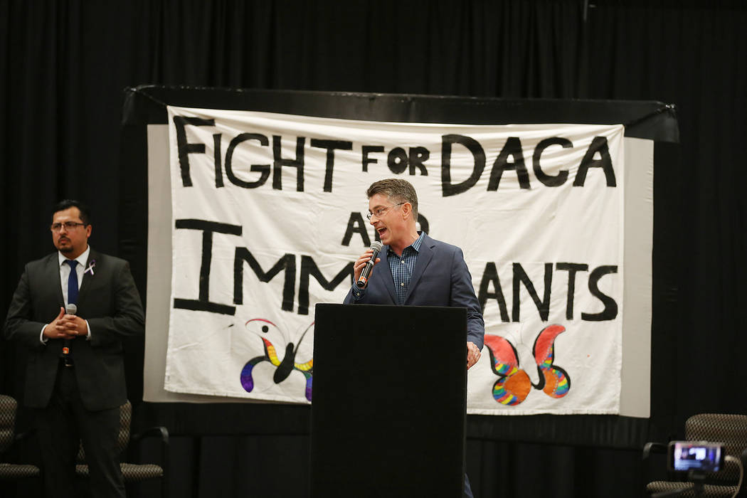 UNLV law professor Michael Kagan speaks during an informative event on DACA at East Las Vegas Community Center on Tuesday, Sept. 5, 2017. Bridget Bennett Las Vegas Review-Journal @bridgetkbennett