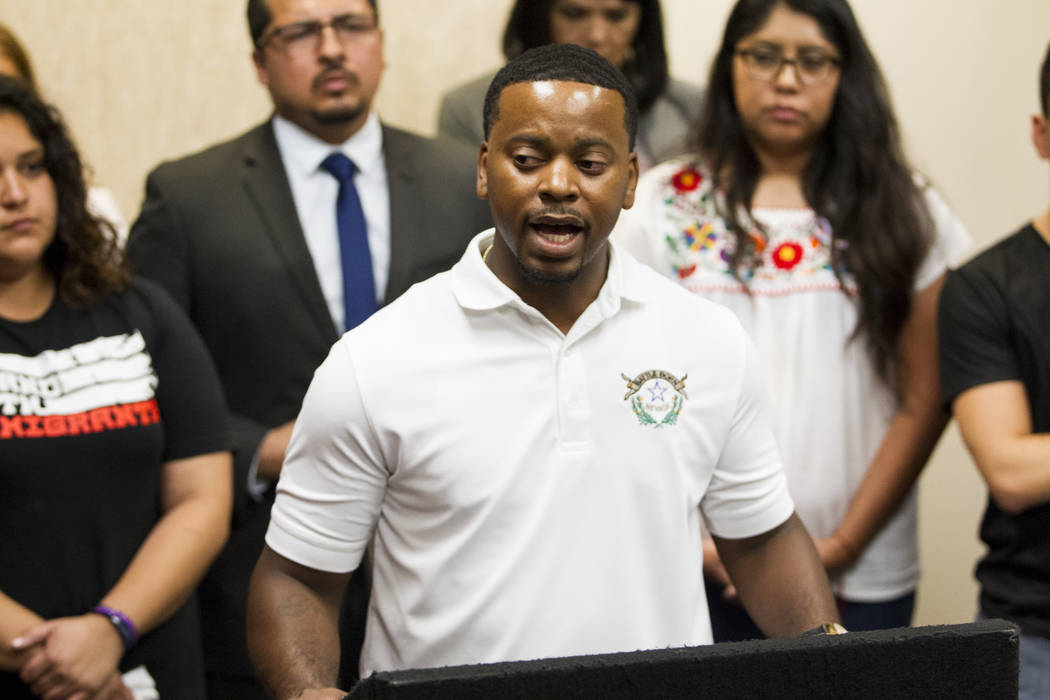Assemblyman William McCurdy II, D-Las Vegas, reacts to the cancellation of the Deferred Action for Childhood Arrivals program during a press conference at the East Las Vegas Community Center, in L ...