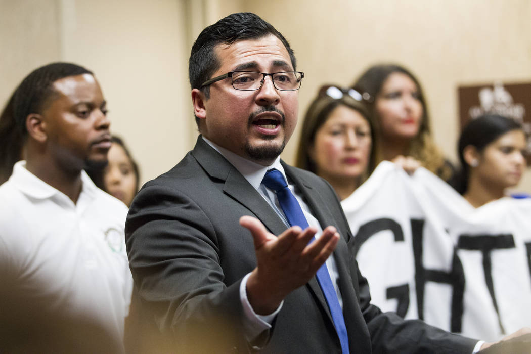 Assemblyman Edgar Flores, D-Las Vegas, reacts to the cancellation of the Deferred Action for Childhood Arrivals program during a press conference at the East Las Vegas Community Center, in Las Veg ...