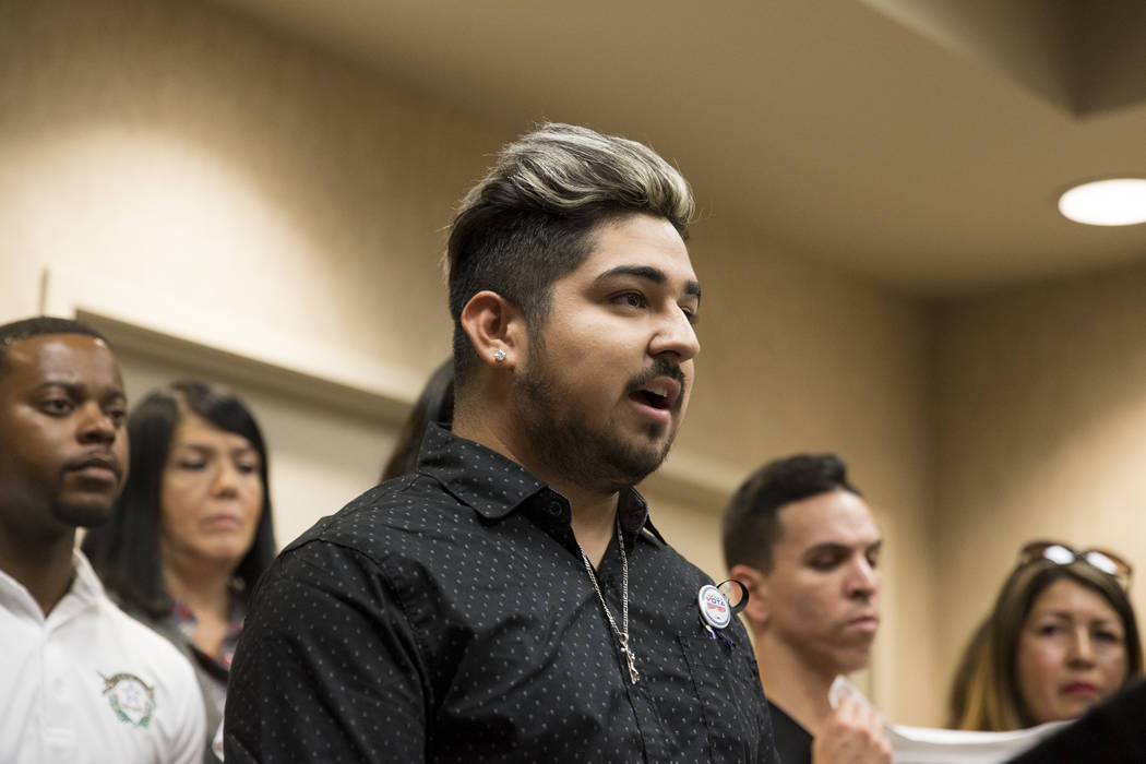 Sergio Hernandez, recipient of the Deferred Action for Childhood Arrivals program, shares his story during a press conference on the cancellation of DACA at the East Las Vegas Community Center, in ...