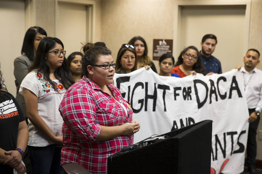 Victoria Osorio, 24, of Las Vegas, recipient of the Deferred Action for Childhood Arrivals program, shares her story during a press conference on the cancellation of DACA at the East Las Vegas Com ...