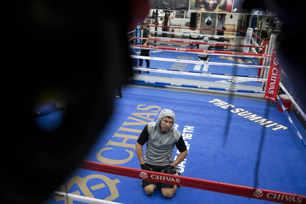 "Gennady Golovkin during a break in his workout at The Summit Gym in Big Bear, Calif., on Wednesday, July 26, 2017. Golovkin is training for his September 16 boxing bout against Saul ""Cane ..."
