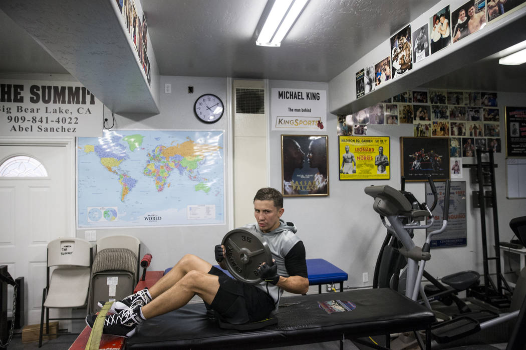 "Gennady Golovkin does crunches during a workout at The Summit Gym in Big Bear, Calif., on Wednesday, July 26, 2017. Golovkin is training for his September 16 boxing bout against Saul ""Can ..."
