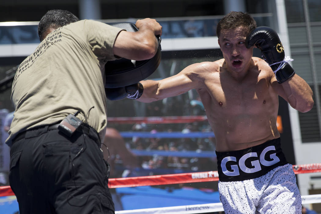 Gennady Golovkin, right, during a media workout with his trainer Abel Sanchez at L.A. Live in Los Angeles, Calif., on Monday, Aug. 28, 2017. Erik Verduzco Las Vegas Review-Journal @Erik_Verduzco
