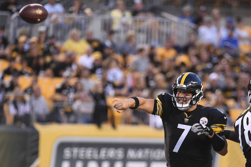 Pittsburgh Steelers quarterback Ben Roethlisberger (7) passes in the first half an NFL preseason football game against the Indianapolis Colts, Saturday, Aug. 26, 2017, in Pittsburgh. (AP Photo/Fre ...