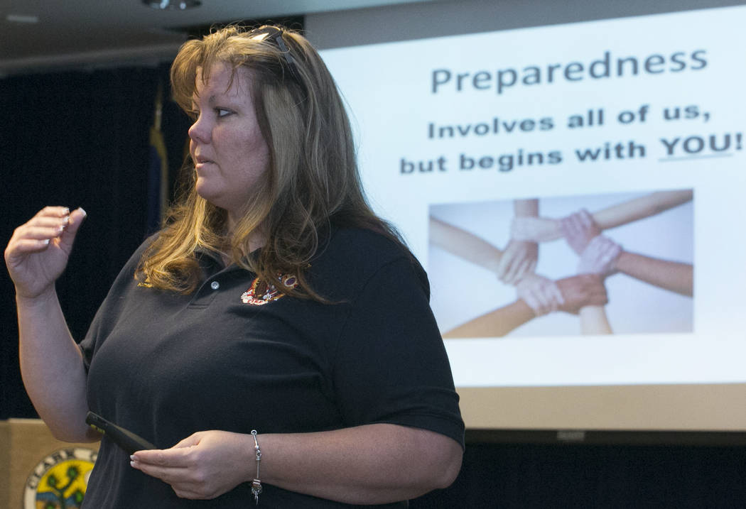 Misty Richardson, preparedness and recovery coordinator, speaks, Friday, Sept. 1, 2017, during a seminar to learn how to prepare for emergencies of all types at the Government Center in Las Vegas. ...