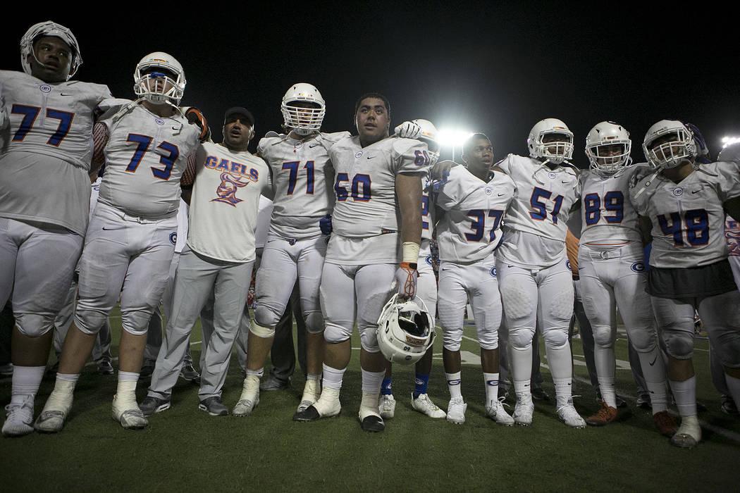 Bishop Gorman teammates gather after their 35-21 loss to Mater Dei at Santa Ana Stadium on Friday, Sept. 1, 2017 in Santa Ana, California.Bridget Bennett Las Vegas Review-Journal @bridgetkbennett