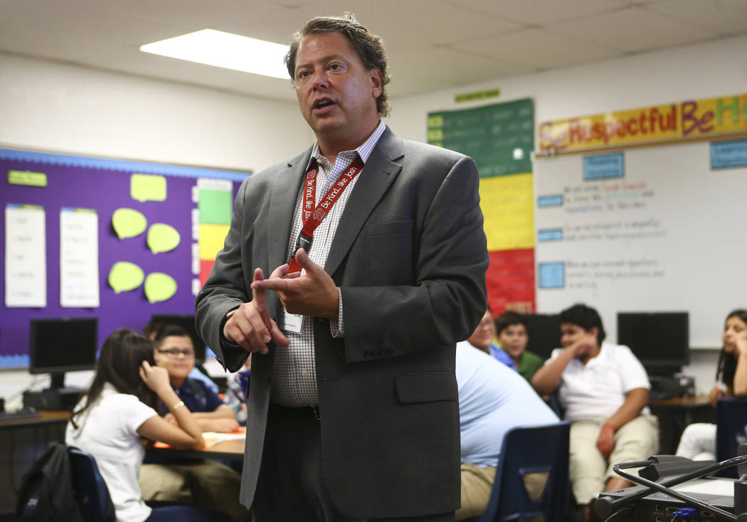 Clark County School District Superintendent Pat Skorkowsky during the first day of classes at Garside Junior High School in Las Vegas on Monday, Aug. 14, 2017. More than 320,000 children will be h ...