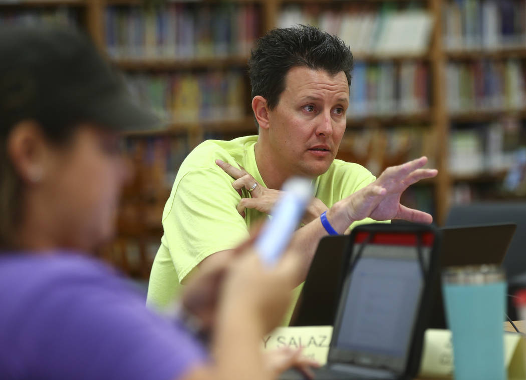 Ty Salazer speaks during a school organizational team meeting at Saville Middle School in Las Vegas on Tuesday, Aug. 29, 2017. The Clark County School Board approved $43 million in cuts, with addi ...