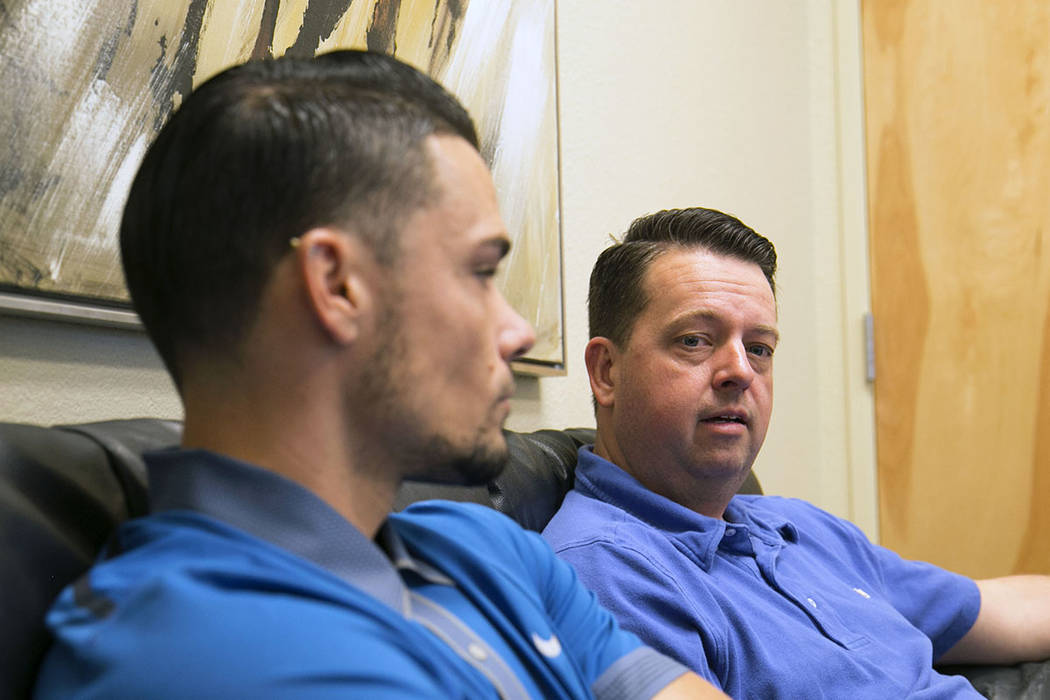Kyle Meade, left, and his brother Cole Frick speak during an interview on Wednesday, Sept. 6, 2017, about their brother Josh Meade, who died in a construction accident at UNLV's Thomas & Mack  ...