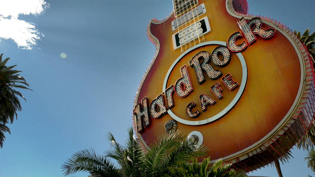 The Hard Rock Café neon sign as seen on Thursday, Aug. 10, 2017 at the corner of Harmon and Paradise is coming down and moving to a new home in the Neon Museum. Michael Quine Las Vegas Review ...