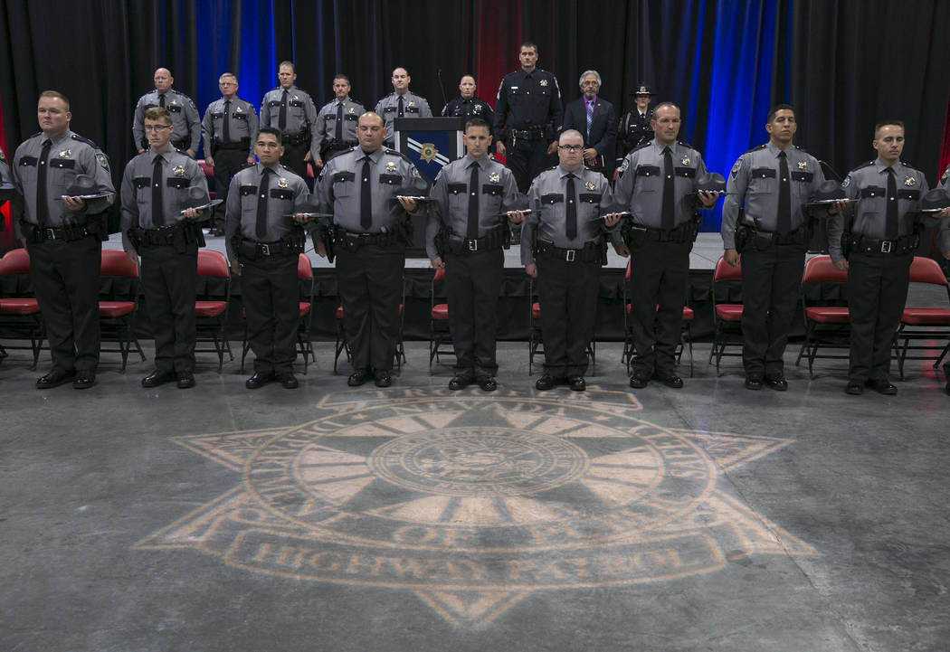 The officers are lined up during their graduation ceremony of Nevada Highway Patrol Advanced Academy 77 at the South Point in Las Vegas on Friday, Sept. 1, 2017. Bizuayehu Tesfaye Las Vegas Review ...
