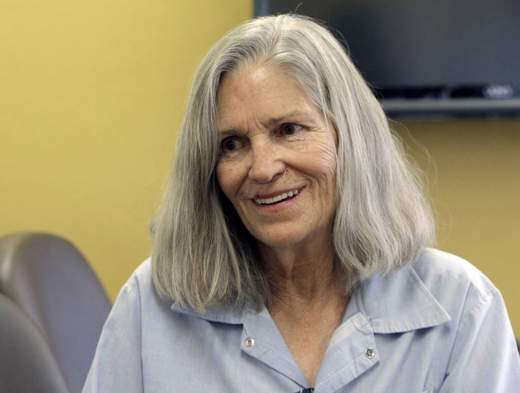 Former Charles Manson follower Leslie Van Houten is shown during a break from her hearing before the California Board of Parole Hearings at the California Institution for Women in Chino, Calif. on ...