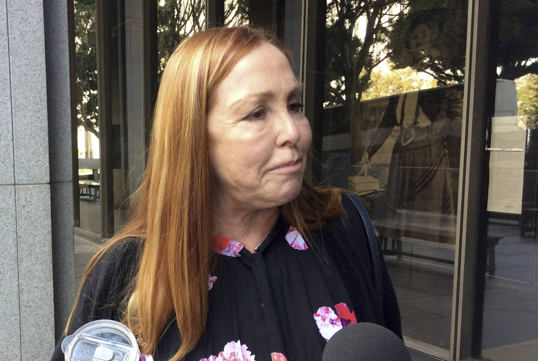"Debra Tate, sister of Manson ""family"" murder victim Sharon Tate, speaks after a hearing to determine the suitability for parole of family member Leslie Van Houten, at Los Angeles ..."