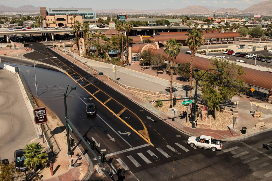 Water floods a road after a main water line broke on Stewart Avenue and Main Street in downtown Las Vegas, Friday, Sept. 1, 2017. Joel Angel Juarez Las Vegas Review-Journal @jajuarezphoto