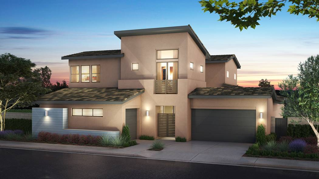 Pardee Homes' Nova Ridge neighborhood will open on Sept. 23 and marks a return to Summerlin for the builder. Shown is a rendering of Nova Ridge Plan 3-A in the Mid Century Modern elevation. (Pardee)