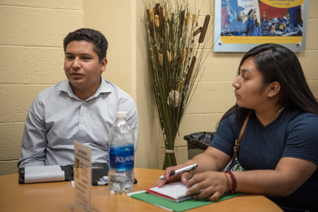 College of Southern Nevada students Cristian Aguina, left, and Jessica Duran, right, at the Generation Dreamers club meeting at College of Southern Nevada North Las Vegas on Tuesday, Sep. 5, 2017, ...