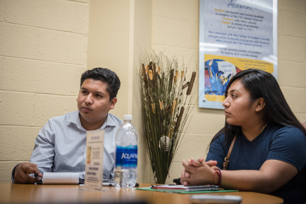 College of Southern Nevada students Cristian Aguina, left, and Jessica Duran, right, at the Generation Dreamers club meeting at CSN North Las Vegas on Tuesday, Sep. 5, 2017, in North Las Vegas. Mo ...