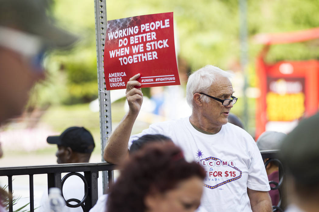 Tom McCullough participates in a Fight for $15 rally and march outside of the McDonald's near Harrah's hotel-casino in Las Vegas, on Monday, Sept. 4, 2017. Erik Verduzco Las Vegas Re ...