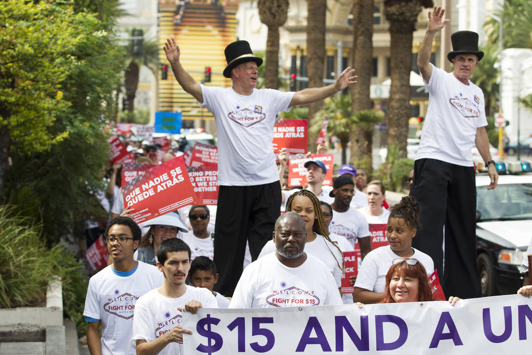 People march on the Las Vegas Strip during a Fight for $15 event in Las Vegas, on Monday, Sept. 4, 2017. Erik Verduzco Las Vegas Review-Journal @Erik_Verduzco