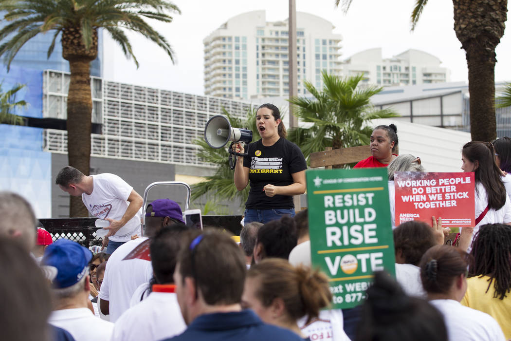 State Sen. Yvanna Cancela rallies the crowd during a Fight for $15 march and rally in front of McDonald's, 2880 Las Vegas Blvd. South, in Las Vegas, on Monday, Sept. 4, 2017. Erik Verduzco Las Veg ...