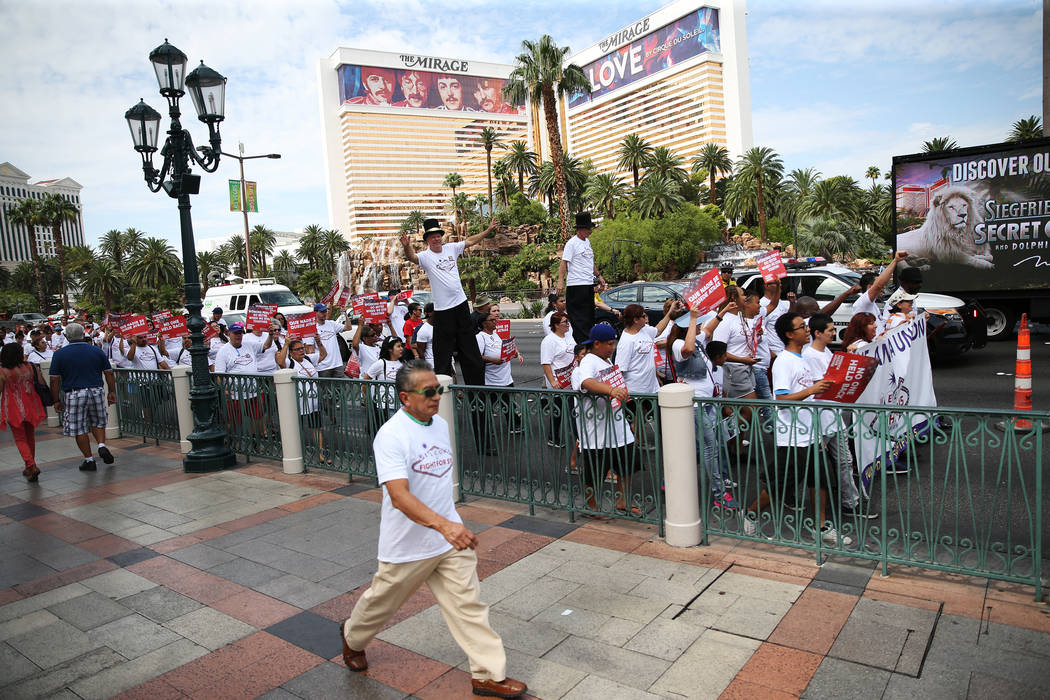 People march on the Las Vegas Strip during a Fight for $15 rally and march in Las Vegas, on Monday, Sept. 4, 2017. Erik Verduzco Las Vegas Review-Journal @Erik_Verduzco