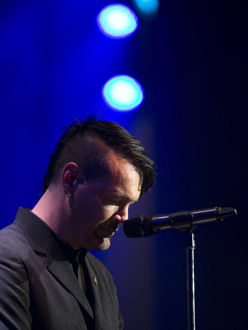 Dead by Sunrise guitarist Ryan Shuck gets emotional as he shares stories about his former bandmate during a memorial for the singer and songwriter Chester Bennington at Saxe Theater on Saturday, S ...