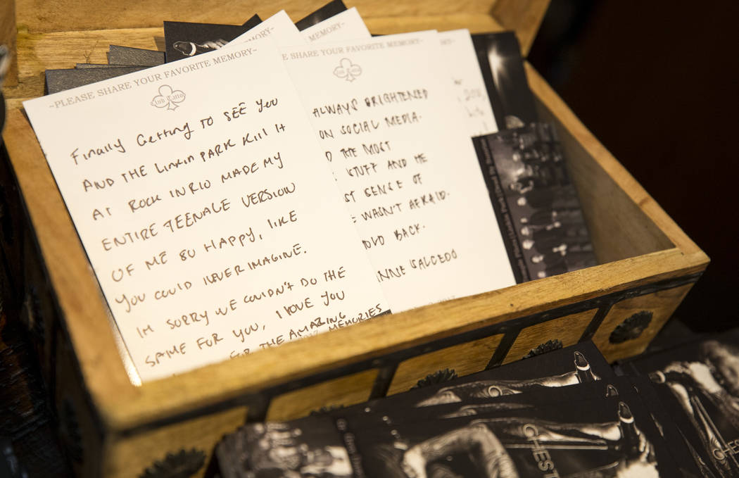 Handwritten notes left at a memorial for singer and songwriter Chester Bennington at Club Tattoo inside Planet Hollywood on Saturday, Sept. 2, 2017, in Las Vegas following a memorial for Benningto ...