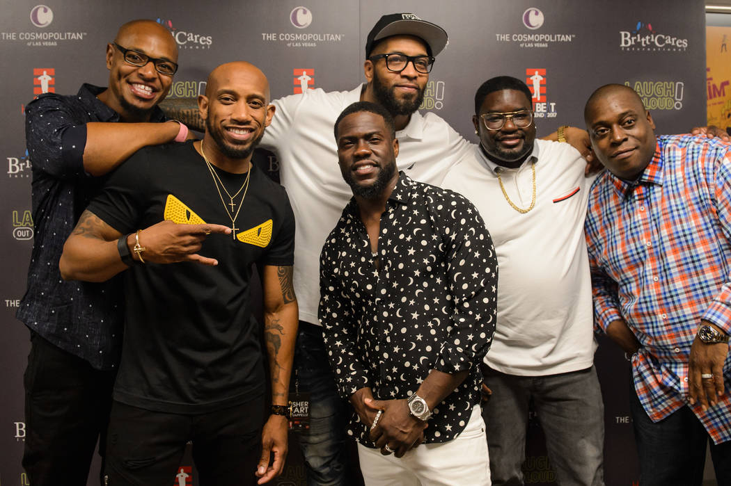 """The lineup of """"Kevin Hart & Friends"""" at Chelsea at the Cosmopolitan of Las Vegas, shown on Saturday, Sept. 2, 2017. From left: Tony Baker, Malik Sanon, Hart, Jimmy Martinez, Lil Rel and Howie  ..."""