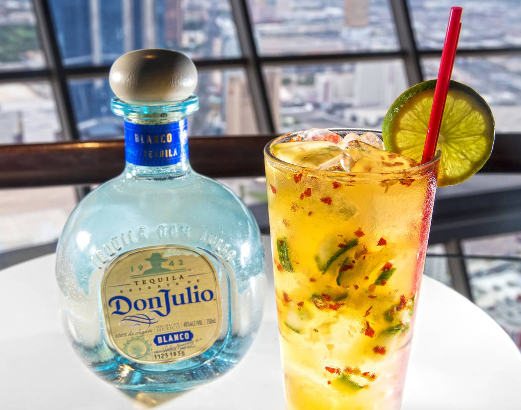The Angry Cucumber with Hornitos tequila, cucumber slices, lime juice, red chile flakes and soda at 107 SkyLounge on Thursday, Aug 31, 2017, at Stratosphere hotel-casino, in Las Vegas. Benjamin Ha ...