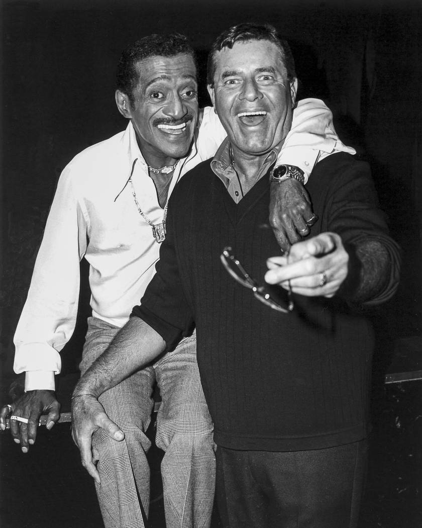 Jerry Lewis and Sammy Davis Jr. at the Desert Inn in Las Vegas, May 19, 1986. (Las Vegas News Bureau)