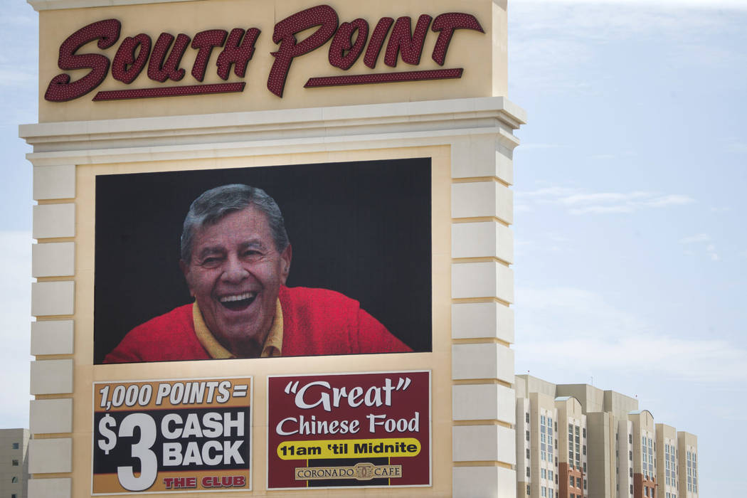 The South Point hotel-casino displays a tribute to the late actor and comedian Jerry Lewis during a private memorial at the hotel in Las Vegas, Monday, Sept. 4, 2017. (Erik Verduzco//Las Vegas Rev ...