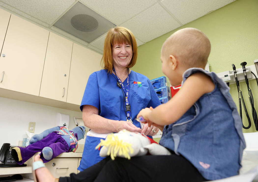 Sue Collins Waltermeyer,a child life specialist, lets patient Madilyn Cash, 4, treat her shadow buddy at the Children's Specialty Center of Nevada in Las Vegas, Tuesday, Sept. 5, 2017. Shadow budd ...