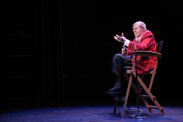 Jerry Lewis performs during the final show of his run at the South Point, Sunday, Oct. 2, 2016, in Las Vegas. (Sam Morris/Las Vegas News Bureau)
