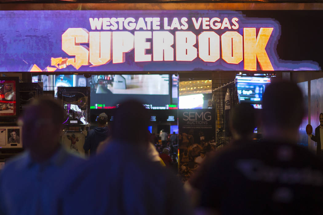 Basketball fans arrive at the Westgate sports book during the first day of the NCAA basketball tournament in Las Vegas on Thursday, March 16, 2017. (Chase Stevens/Las Vegas Review-Journal) @csstev ...