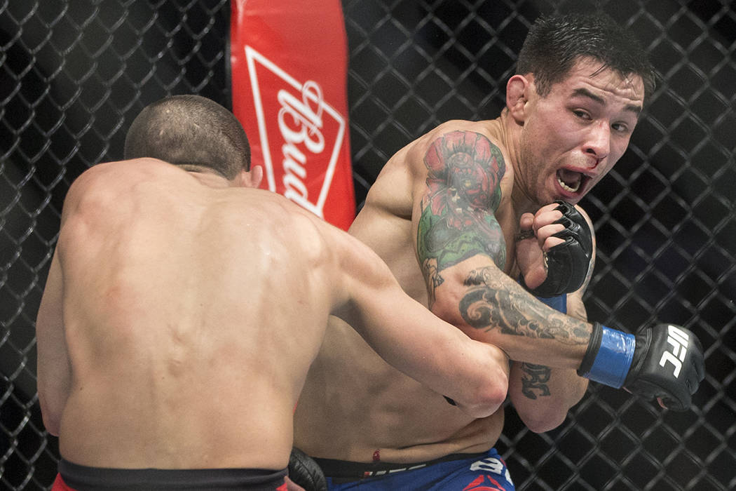 Ray Borg lands a strike against Louis Smolka during their flyweight fight at UFC 207 at T-Mobile Arena on Friday, Dec. 30, 2016, in Las Vegas. Benjamin Hager/Las Vegas Review-Journal