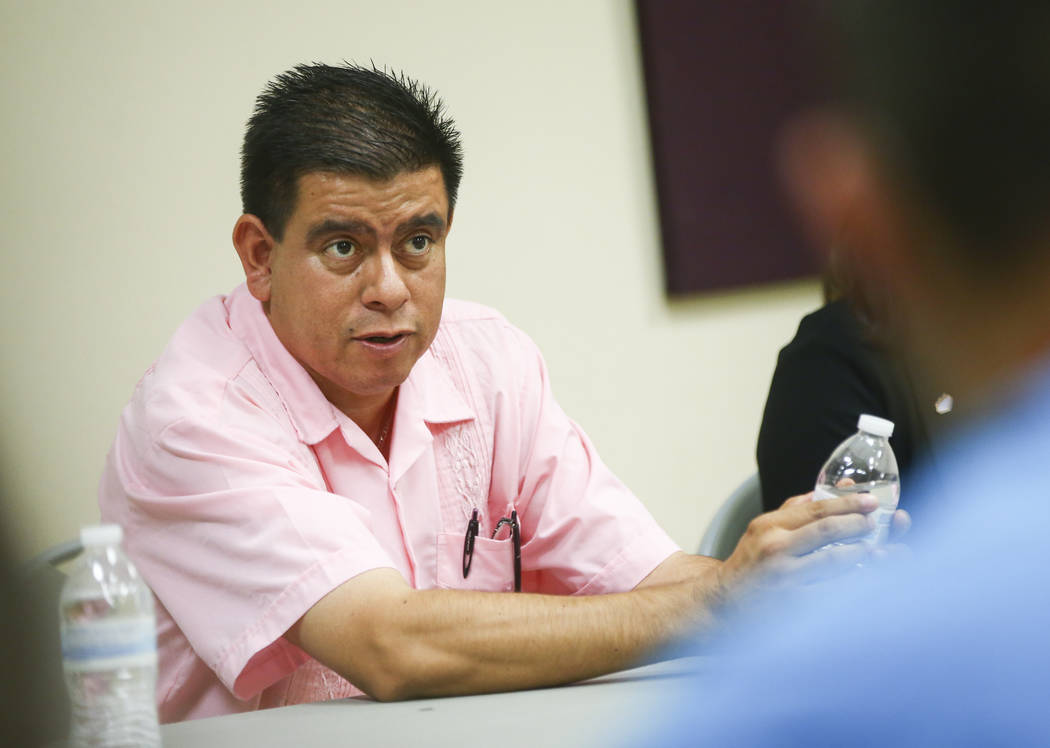 North Las Vegas City Councilman Isaac Barron speaks during a panel event held by Latinos Unidos at Pearson Community Center in North Las Vegas on Thursday, Aug. 31, 2017. Chase Stevens Las Vegas R ...