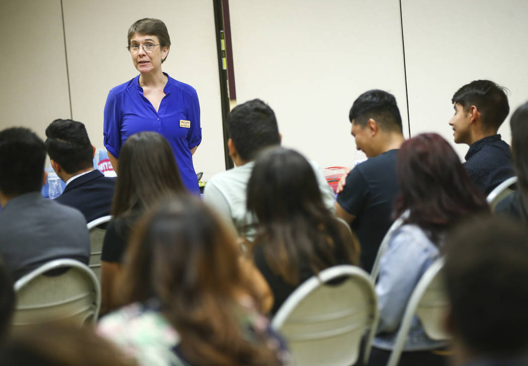 Moderator Sondra Cosgrove, a professor at the College of Southern Nevada, speaks during a panel event held by Latinos Unidos at Pearson Community Center in North Las Vegas on Thursday, Aug. 31, 20 ...