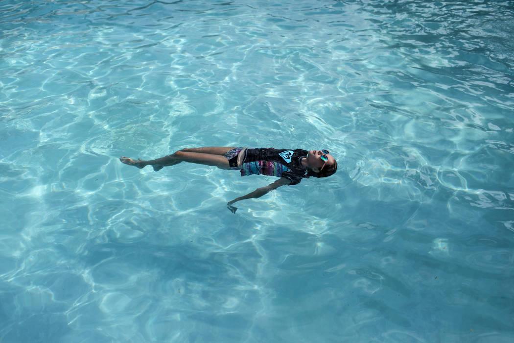 Charis Moore, 11, swims at the Willows Community Center in Las Vegas, Monday, Sept. 4, 2017. Joel Angel Juarez Las Vegas Review-Journal @jajuarezphoto
