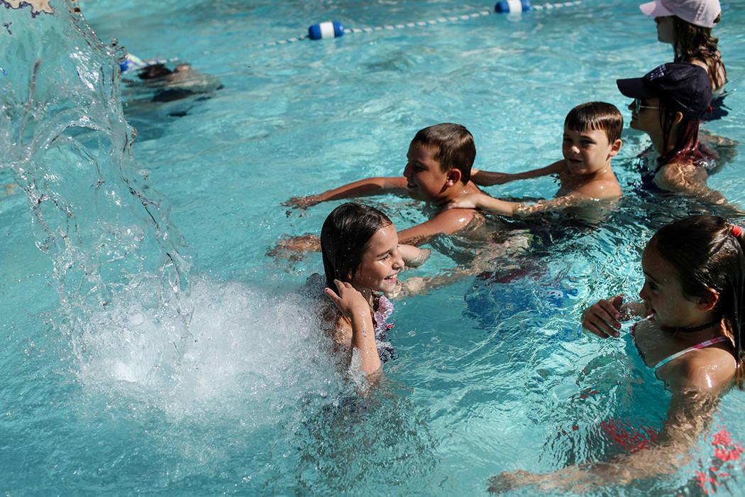 Nava Moore, 7, swims at the Willows Community Center in Las Vegas, Monday, Sept. 4, 2017. Joel Angel Juarez Las Vegas Review-Journal @jajuarezphoto