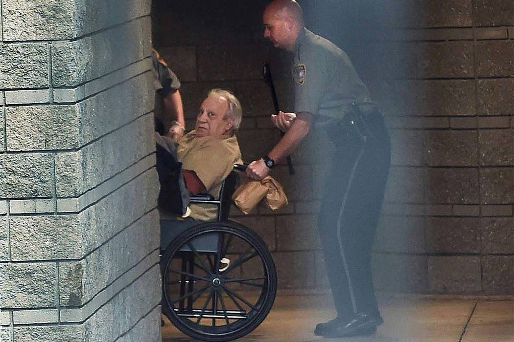 In this April 20, 2015, file photo, Robert Gentile is brought into the federal courthouse in a wheelchair for a continuation of a hearing in Hartford, Connwcticut. Gentile, a reputed Connecticut m ...