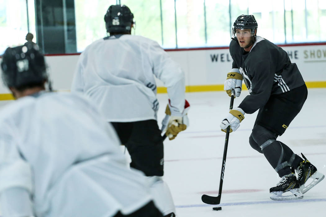 Golden Knights defense Brayden McNabb (3) moves the puck up the field during a practice at City National Arena in Las Vegas, Monday, Sept. 4, 2017. Joel Angel Juarez Las Vegas Review-Journal @jaju ...
