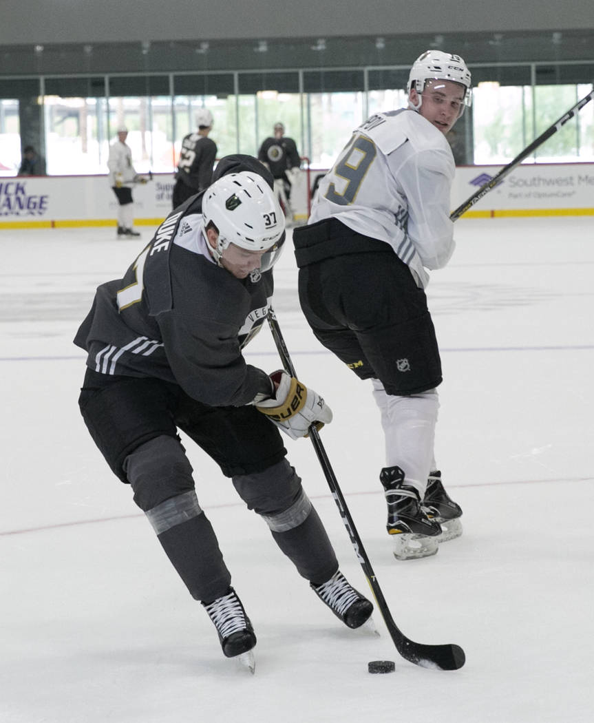 Vegas Golden Knights' forward Reid Duke, left, skates past Dmitry Osipov during rookie camp at City National Arena on Friday, Sept. 8, 2017, in Las Vegas. (Bizuayehu Tesfaye/Las Vegas Review-Journ ...