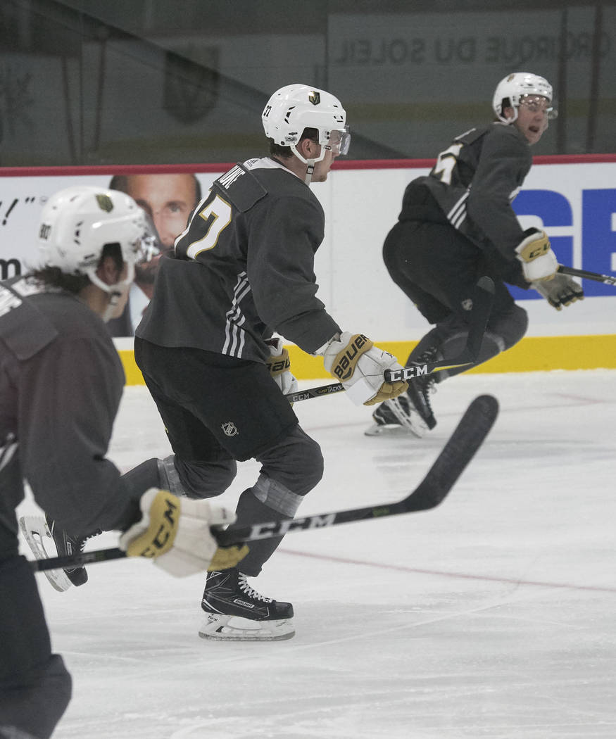Vegas Golden Knights' forward Reid Duke, center, skates during rookie camp at City National Arena on Friday, Sept. 8, 2017, in Las Vegas. (Bizuayehu Tesfaye/Las Vegas Review-Journal) @bizutesfaye