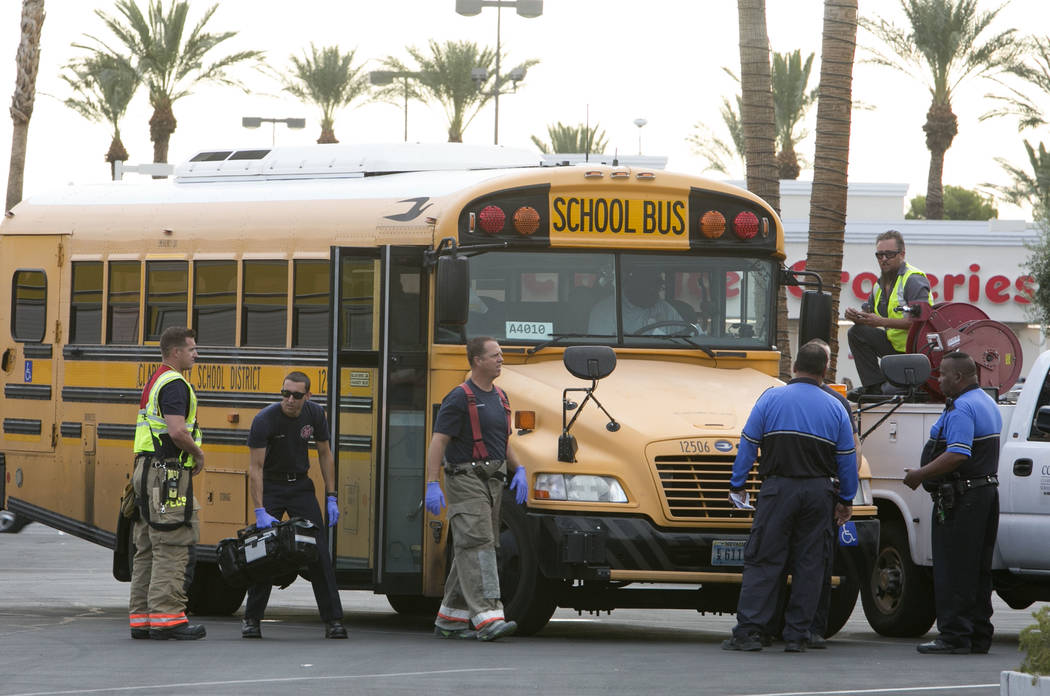 Las Vegas police and Clark County School District police are investigating an accident after a school bus carrying students and a pickup truck collided near the intersection of South Jones Bouleva ...